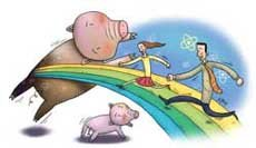 돼지 장기 달고 골프 즐긴다