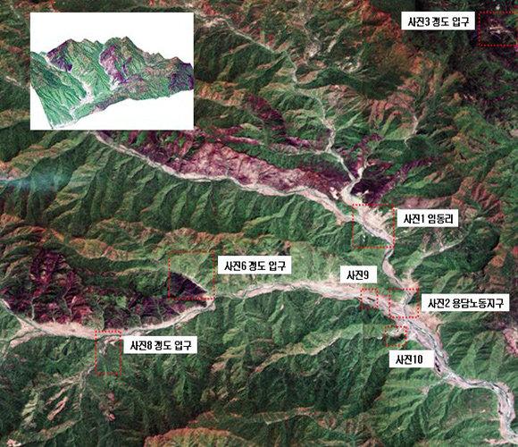 '지하 핵실험 징후' 지목된 북한 길주 산악지대 위성사진