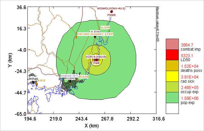 美 국방부 컴퓨터 모델로 예측한 한국 원전사고 피해 시뮬레이션