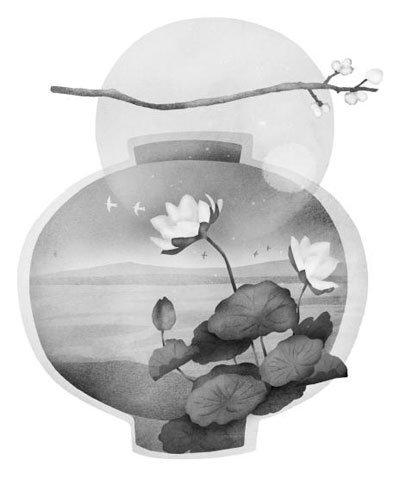 연잎 위에 달항아리