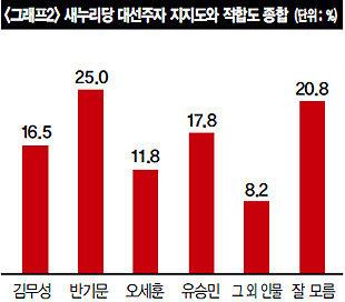 새누리 반기문  더민주 문재인  '불안한 우세'