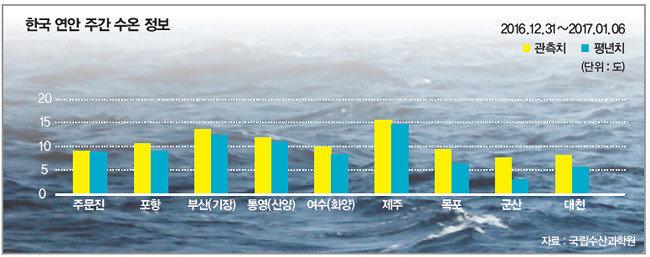 1월 동해 표층 수온이  2도 오른다고?