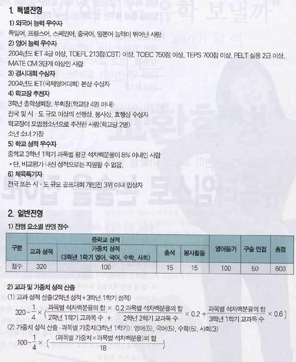 자타 공인 외고 명문 … 서울·연세·고려대 진학률 높아