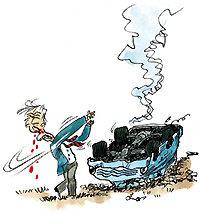 못 말리는 골프광, 사고 차에서 나오며 '빈 스윙'