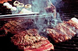 숯불로 화끈하게 익힌 고기 죽이네!