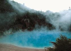 뉴질랜드 로토루아 화산 분화구 유황냄새