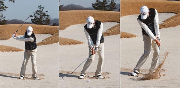 공 뒤 모래를 치는 부드러운 스윙 구사하라