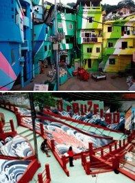 브라질 빈민가 '벽화 운동' 살가운 관광명소로 탈바꿈