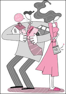 가정경제 주도권 다투는 아내와 남편의 갈등