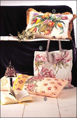 한땀 한땀 정성 담긴 로맨틱 플라워 십자수 쿠션 & 가방