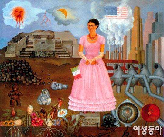 함께 어우러진 아름다운 세상을 담은 '멕시코와 미국의 국경선 위에 서 있는 자화상'