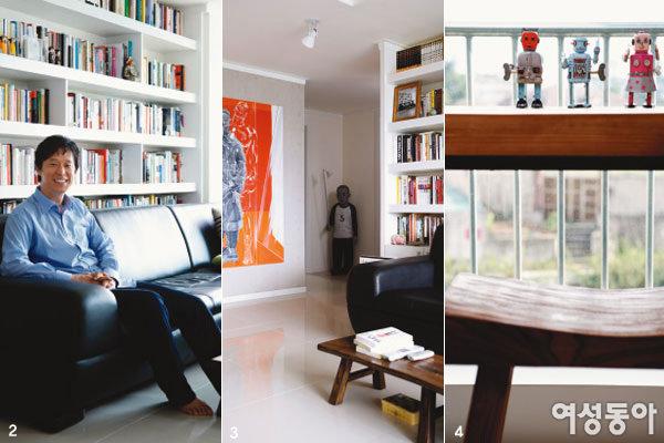 그림과 조각이 있는 갤러리 하우스