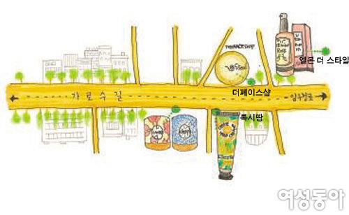 뷰티 거리로 뜨고 있는 가로수길 뷰티 로드 맵
