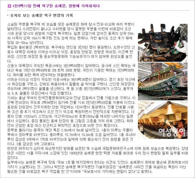 숭례문 복구 공사 도편수 신응수 대목장의 뚝심