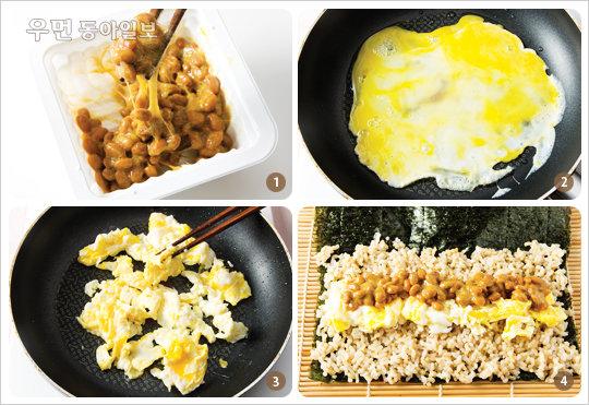 칼로리는 Down, 효소와 단백질은 Up! 건강한 한 끼 식사 '낫토스크램블김말이밥'