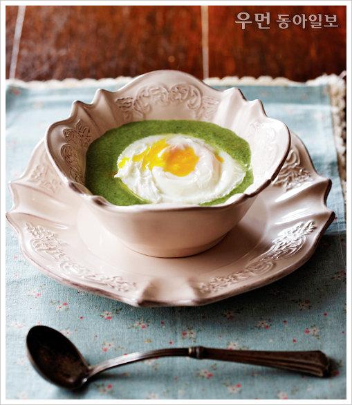 水卵~ 수란 띄운 시금치수프