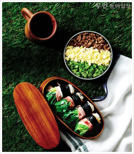 아이 소풍 & 나들이 메뉴 도시樂~ 방풍나물베이컨초밥 & 삼색소보로덮밥