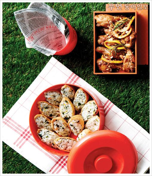 아이 소풍 & 나들이 메뉴 도시樂~ 유채나물유부초밥 & 간장닭봉구이