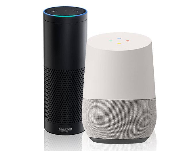 인공지능 스피커 시대를 처음 연 아마존 에코(왼쪽)와 최근 한국어 서비스를 개시한 구글 홈.