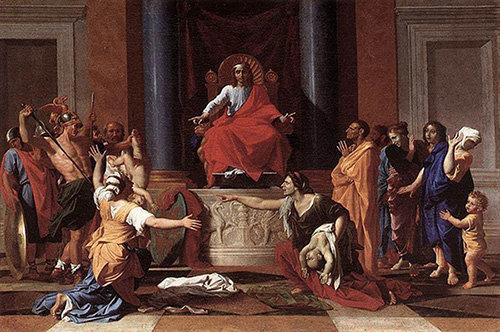 프랑스 화가 니콜라스  푸생이 1649년 발표한  유화 '솔로몬의 재판'.  솔로몬은 사태의 진상을  꿰뚫어보고 진실이  스스로 드러나도록 한  판결로 '좋은 판사'의  전범을 이뤘다. [동아DB]