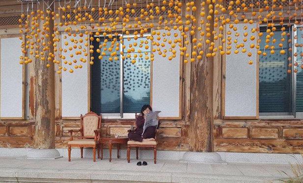 청와대 관저 처마에 감을 매달아 말리고 있는 김정숙 여사. 11월 4일 청와대가 페이스북을 통해 공개했다. [뉴스1]