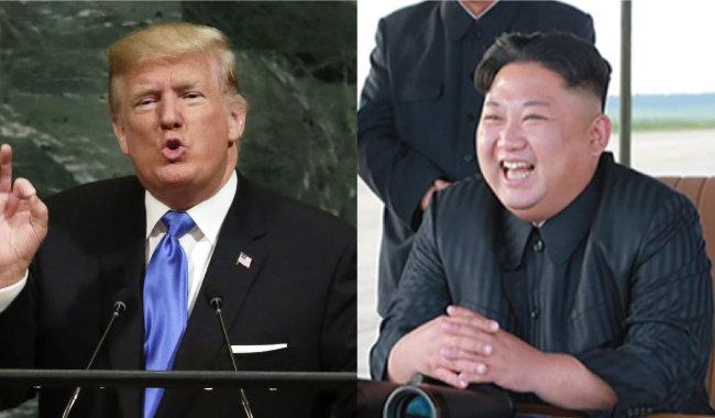 """도널드 트럼프 미국 대통령이 9월 20일 유엔총회에서 """"북한의 완전한 파괴""""를 말하고 있다. 김정은 북한 노동당 위원장이 9월 15일 '화성-12형' 발사를 지켜보면서 웃고 있다.[동아DB]"""