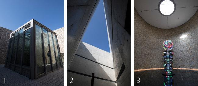 1 페이퍼 갤러리 전시관 초입의 파피루스관. 네모난 천장을 확인할 수 있다. 2 트라이앵글관에서 바라본 하늘. 세모를 찾을 수 있다. 3 백남준관의 동그란 천장.[뮤지엄 산 제공]