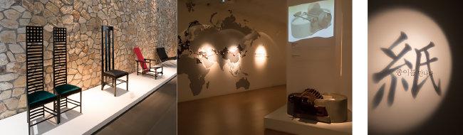세계적 건축가들이 직접 디자인한 의자들. 중국에서 시작된 종이 제조 기술의 전파 과정을 소개한 페이퍼 갤러리 전시 공간.  노출콘크리트 벽면을 스크린 삼은 페이퍼갤러리 제1전시관의 표제.(왼쪽부터)[뮤지엄 산 제공]