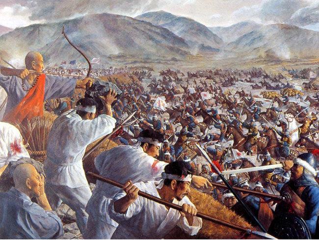 전쟁기념관이 소장한 처인성전투 기록화. 2002년 그린 것이다. 1232년 몽골의 제2차 침입 때 처인성(지금의 용인)에서 승장 김윤후가 적장 사르타크(살례탑)를 맞아 싸운 전투를 담은 기록화다.[문화컨텐츠닷컴 제공]
