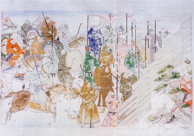 일본 가마쿠라 막부 시대에 그린 일본을 침략한 몽골 병사 모습.
