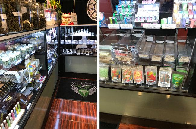 미국 캘리포니아주 샌프란시스코 미션 스트리트에 있는 마리화나 판매점에서 판매하는 다양한 마리화나 제품들.