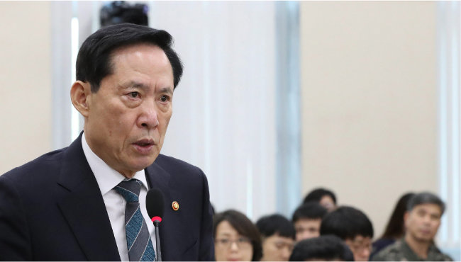 송영무 국방부 장관이 2017년 9월 18일 국회에 출석해 말하고 있다. [김재명 동아일보 기자]
