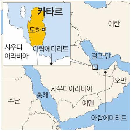카타르와 주변국 지도.