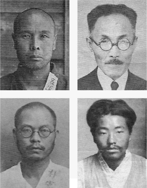 가인이 변론을 맡은 주요 독립투사들의 구금 당시 사진. 왼쪽 위부터 시계방향으로 여운형, 안창호, 이재유, 박헌영. [박영사 제공]
