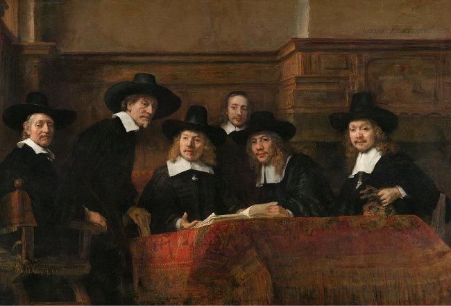렘브란트의 1662년 작 '포목상 조합의 이사들(Syndics of the Drapers' Guild)'. 네덜란드 포목상 길드에서 옷감의 품질을 평가하는 회의 장면을 그린 그림이다.