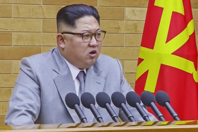 김정은이 1월 1일 미간을 약간 찌푸리며 신년사를 발표하고 있다. [동아DB]