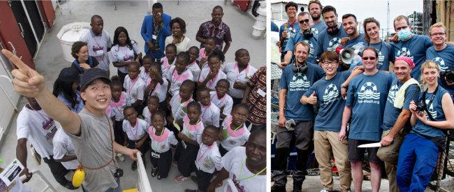 학생들에게 그린피스 환경감시선에 대해 설명하고(왼쪽), 시워치 동료들과 함께 포즈를 취한 김연식 씨. [사진제공·그린피스, 시워치]