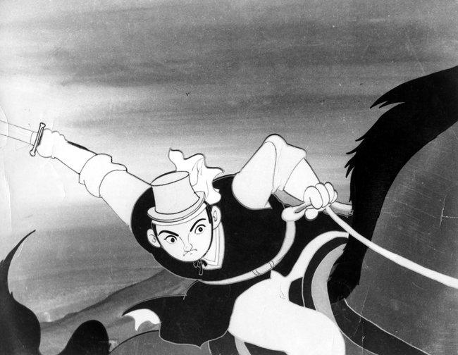 신동헌 화백이 그린 한국 최초의 극장용 장편 만화영화 '홍길동'(1967).