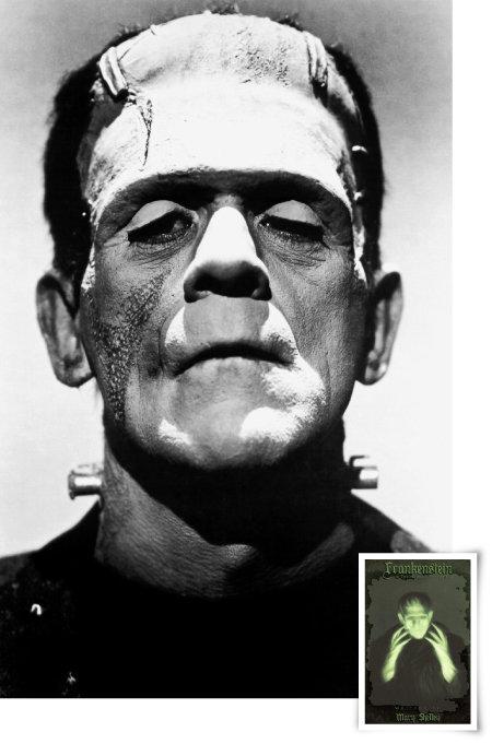 메리 셸리 소설 '프랑켄슈타인'을 원작으로 삼아 1931년 개봉한 영화 '프랑켄슈타인' 속 괴물의 모습(위)과 소설 표지. [동아DB]