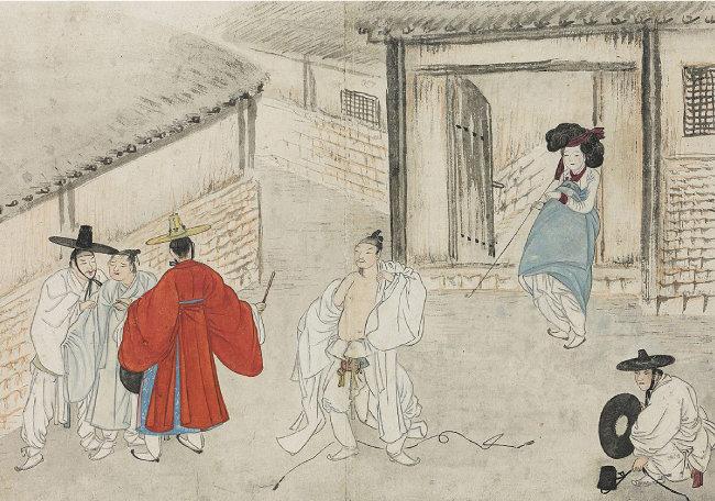 기녀와 유곽의 풍경을 그린 혜원 신윤복의 '유곽쟁웅'. [사진제공 간송미술관]