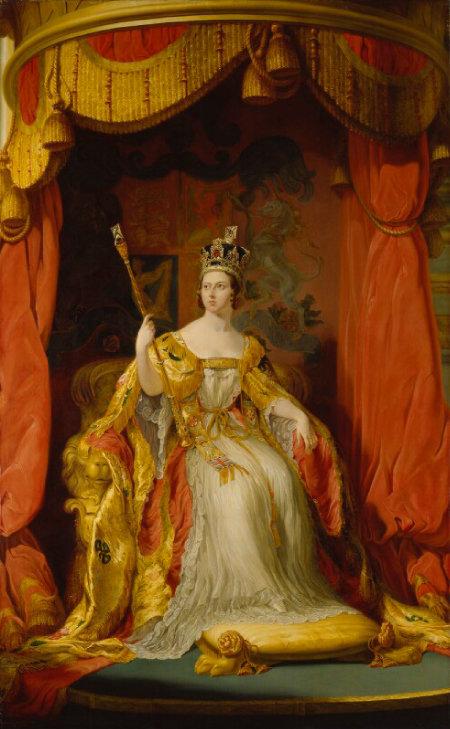 영국 화가 조지 헤이터가 그린 빅토리아 여왕 초상화. 제1차 세계대전을 일으킨 독일의 빌헬름 2세는 그녀의 외손자다.