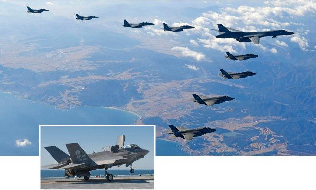 2017년 12월 6일 한국공군 F-16 2대, F-15K 2대, 美 B-1B 1대, F-35A 2대, F-35B 2대(왼쪽부터)가 편대를 이루어 한반도 상공을 비행하고 있다.(위) F-35B 수직 이착륙 스텔스 전투기. [공군 제공]