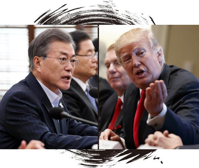 """문재인 대통령이 2월 19일 청와대 수석보좌관 회의에서 발언하고 있다. 그는 """"불합리한 보호무역 조치에 결연히 대응하라""""고 말했다.(왼쪽) 도널드 트럼프 미국 대통령이 3월 1일 백악관에서 철강·알루미늄 업계 관계자들과 회의를 하고 있다. [동아DB, 뉴시스]"""