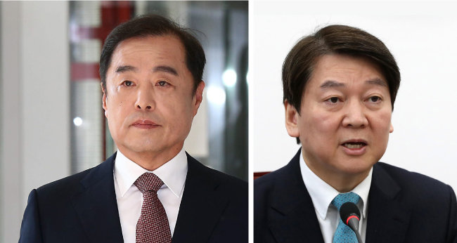 김병준 전 청와대 정책실장(왼쪽), 안철수 바른미래당 의원. [전영한 동아일보 기자, 뉴시스]