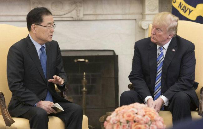 정의용 청와대 국가안보실장이 3월 8일(현지시각) 백악관에서 도널드 트럼프 미국 대통령과 면담하고 있다. [청와대 제공]