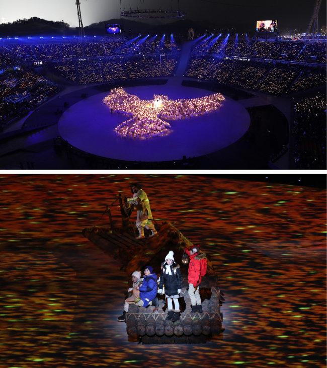 2월 9일 평창 동계올림픽 개막식에서 선보인 LED 촛불 비둘기 퍼포먼스(위)와 다섯 아이가 연기한 '평화를 찾아 떠나는 모험'의 한 장면. [KT 제공, 뉴시스]