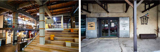 방치된 농협 창고가 청년들의 창업 공간 '청춘 창고'로 활용되고 있다. 맛집과 카페 등도 다수 입점해 있고, KTX 순천역과 가까워 젊은 여행자들도 즐겨 찾는 명소다. [홍중식 기자]