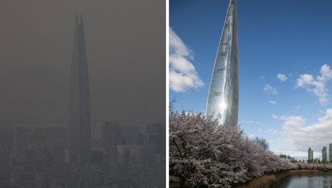 미세먼지 '매우 나쁨'이던 1월 18일 남한산성에서 촬영한 롯데월드타워 일대(왼쪽)와 '좋음'이던 4월 12일 석촌호수에서 촬영한 롯데월드타워 일대가 대비된다. [조영철 기자]