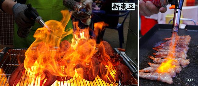 화염에 휩싸인 랍스터 천안 남산중앙시장.(왼쪽) 새우말이삼겹살 인천 송현시장.