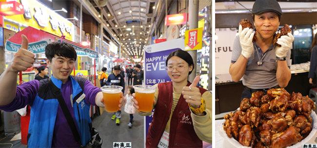 수제맥주도 등장 오산 오색시장.(왼쪽) 족발요정 아저씨 서울 은평 증산종합시장.